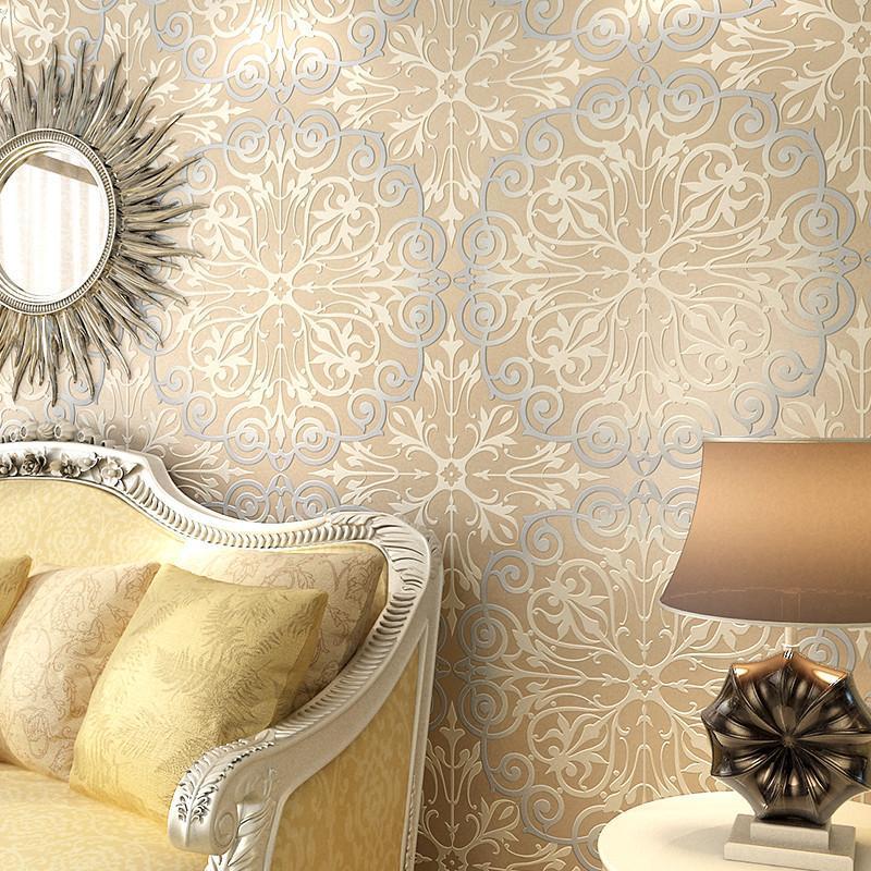 本木无纺布欧式壁纸 3d植绒立体浮雕 卧室客厅电视背景墙纸