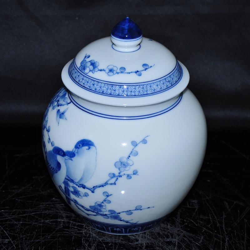 淘瓷缘景德镇名家金宏霞手绘青花瓷器茶具茶叶罐储物罐将军罐瓷罐青花
