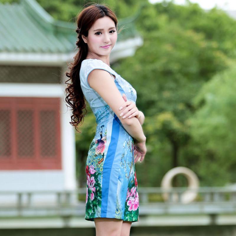 款孔雀旗袍复古礼服