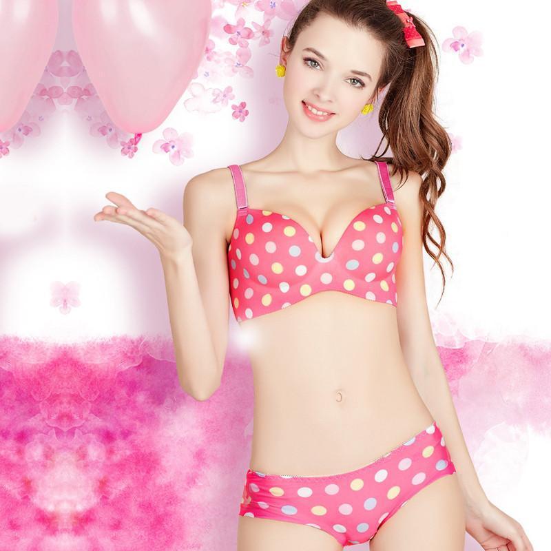 挑剔女人文胸甜美可爱少女调整型聚拢一片式无痕内衣