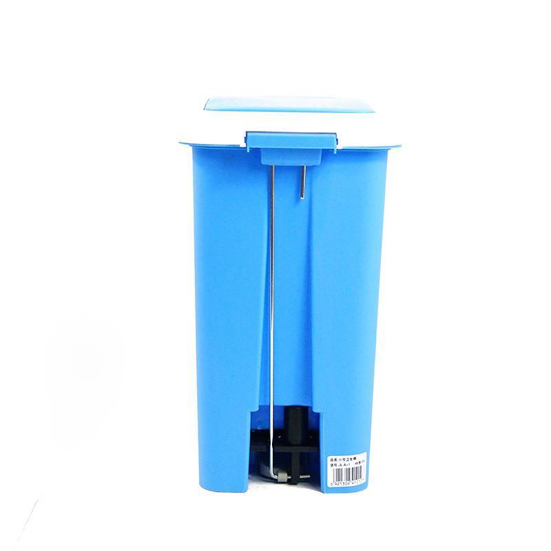 大号20l蓝色脚踏式缓冲型双盖垃圾桶家用杂物