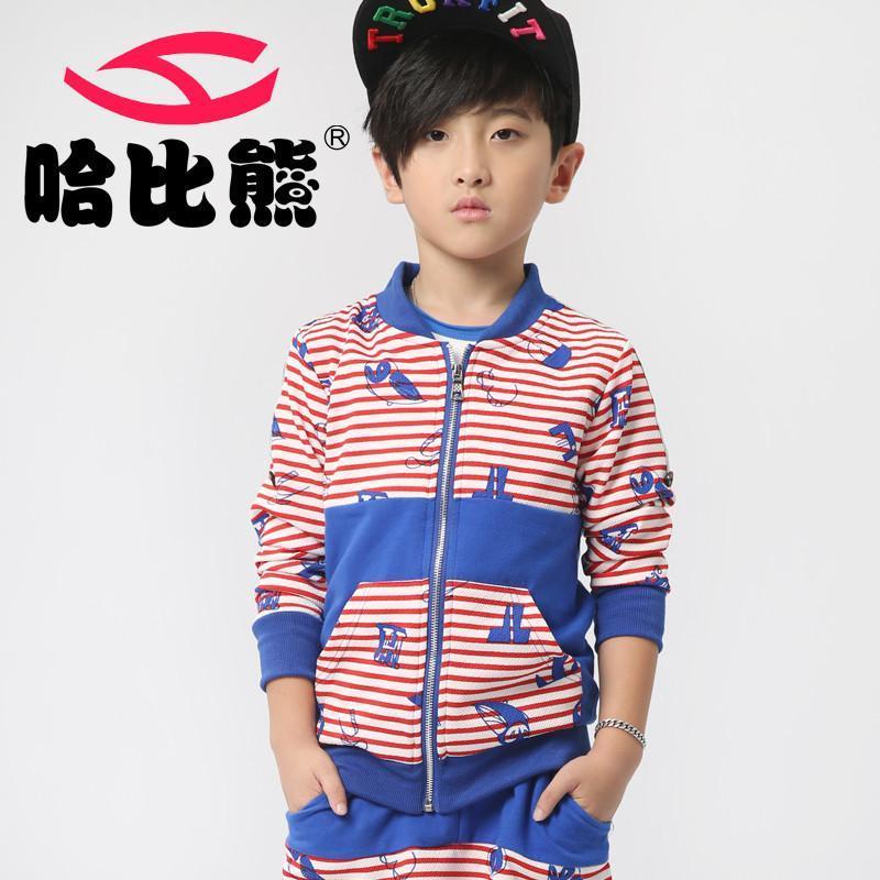 童�j�Z螊8^Y_哈比熊童装男童套装秋装中大童条纹运动套装2014新款宝贝衣服韩版