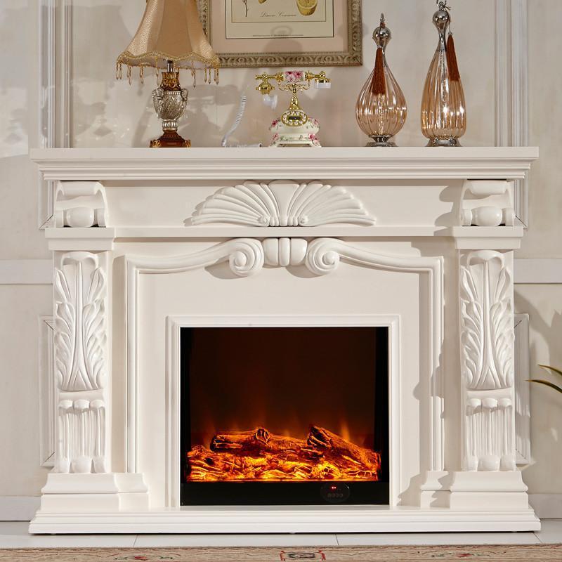 6米欧式壁炉装饰柜 美式电视柜 实木壁炉架 真火电壁炉芯 bl73 套餐四