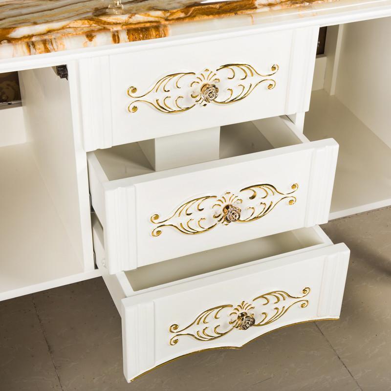 吉美橡木浴室柜组合 欧式描金实木卫浴柜 高档大理石台面8031