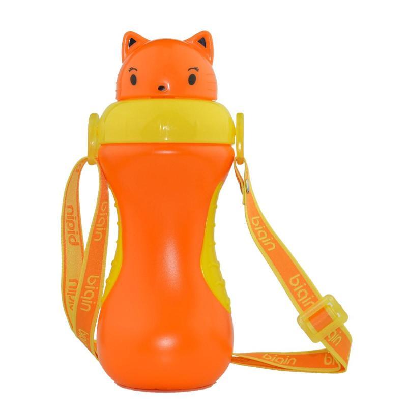 小猫卡通防滑运动水壶 宝宝彩色卡通吸管壶