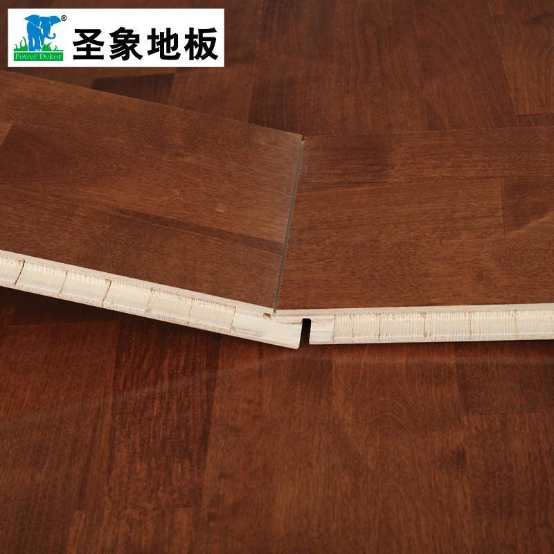 热销圣象15mm康逸三层实木自带龙骨地板ks8335罗马桦木 3.3mm表层