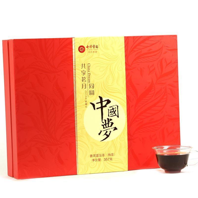 七彩云南 庆沣祥 普洱茶 熟茶 中国梦 茶叶礼盒装 357