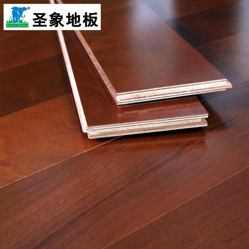 【精品】圣象新实木复合木地板沙比利na3158落日红纹