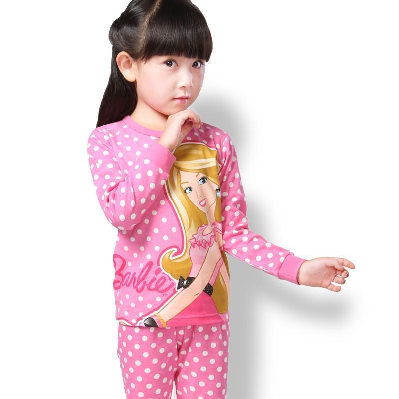 芭比童装2014春秋儿童内衣套装全棉女童棉毛衫宝宝秋