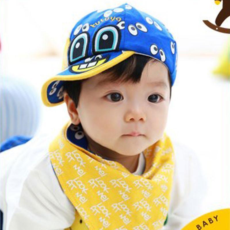 叶子宝宝 婴儿帽子套装宝宝帽加三角巾 fd蓝色 0-36个月