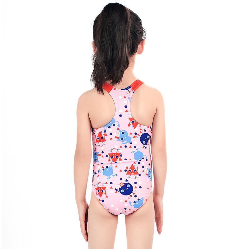 speedo速比涛泳衣女童连体泳衣儿童可爱印花三角连体游泳衣410539
