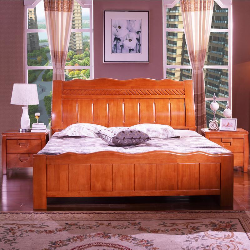 实木床 现代中式 木床 1.8米实木双人床 大床 海棠色 1.8米