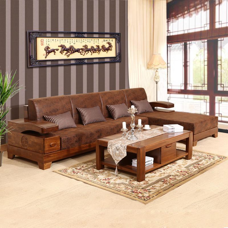 【初林家具】初林实木沙发现代中式时尚客厅布艺实木