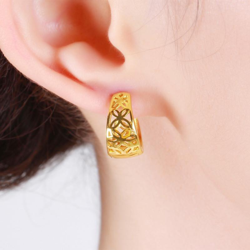 复古镂空花纹时尚耳圈耳环女