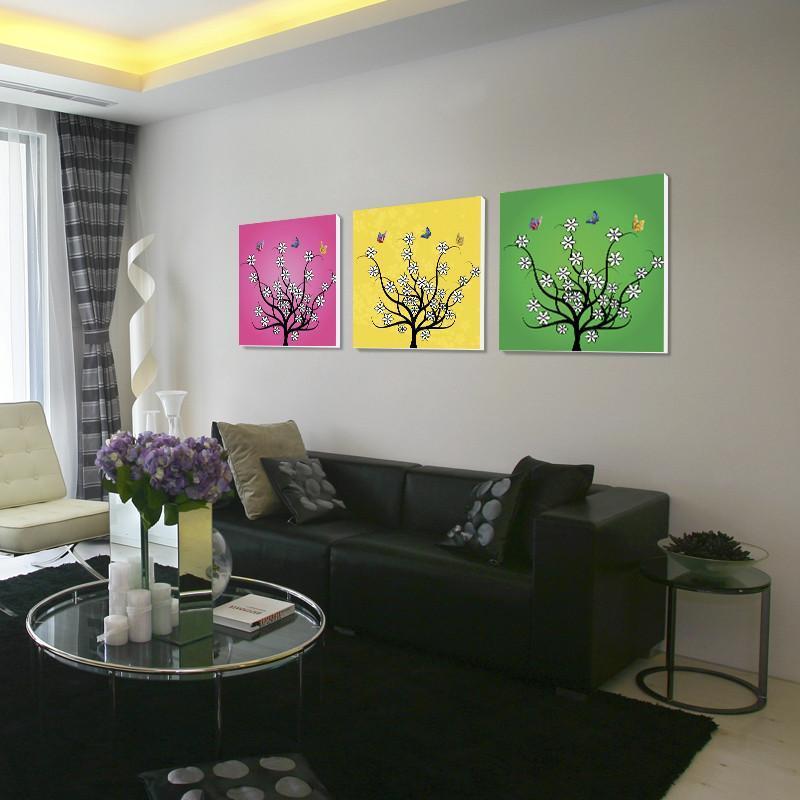 现代客厅沙发背景墙无框装饰画挂画