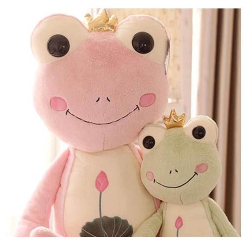 可爱卡通皇冠青蛙王子毛绒玩具公仔抱枕