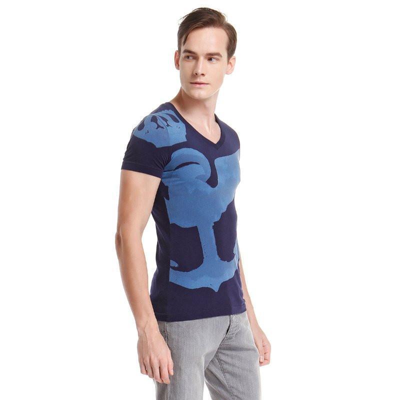 男士手绘v领短袖t恤