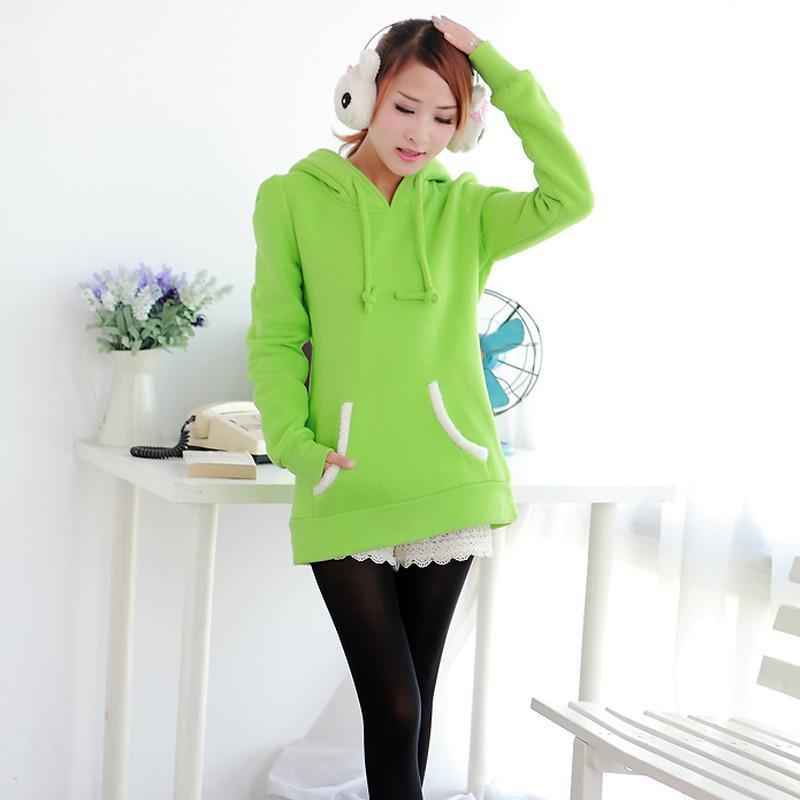 秋冬新款韩版女装外套甜美风加绒加厚熊耳朵可爱外套女卫衣浅绿色m