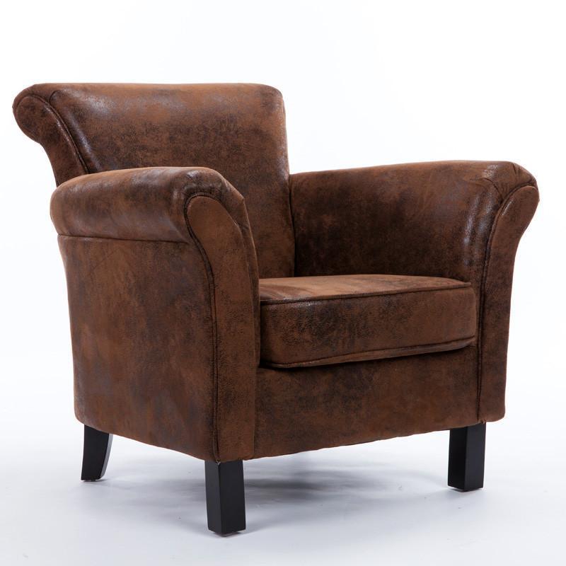 欧式皮布艺单人沙发