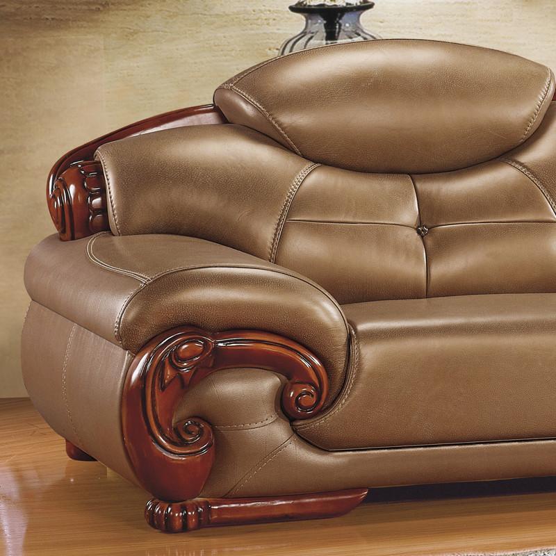 欧式沙发厚皮进口真皮实木雕刻转角组合皮艺