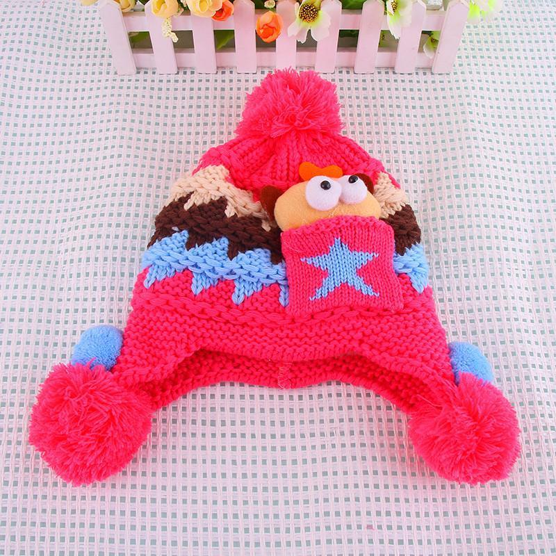 韩版婴儿帽子秋冬宝宝帽子护耳帽儿童毛线帽子男女童帽小孩帽0035 深