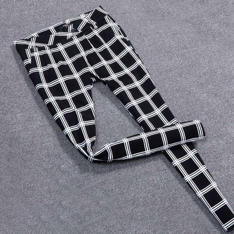 gib gas/吉卡思 2013秋冬新款 欧洲站英伦风黑白格休闲哈伦裤 女装