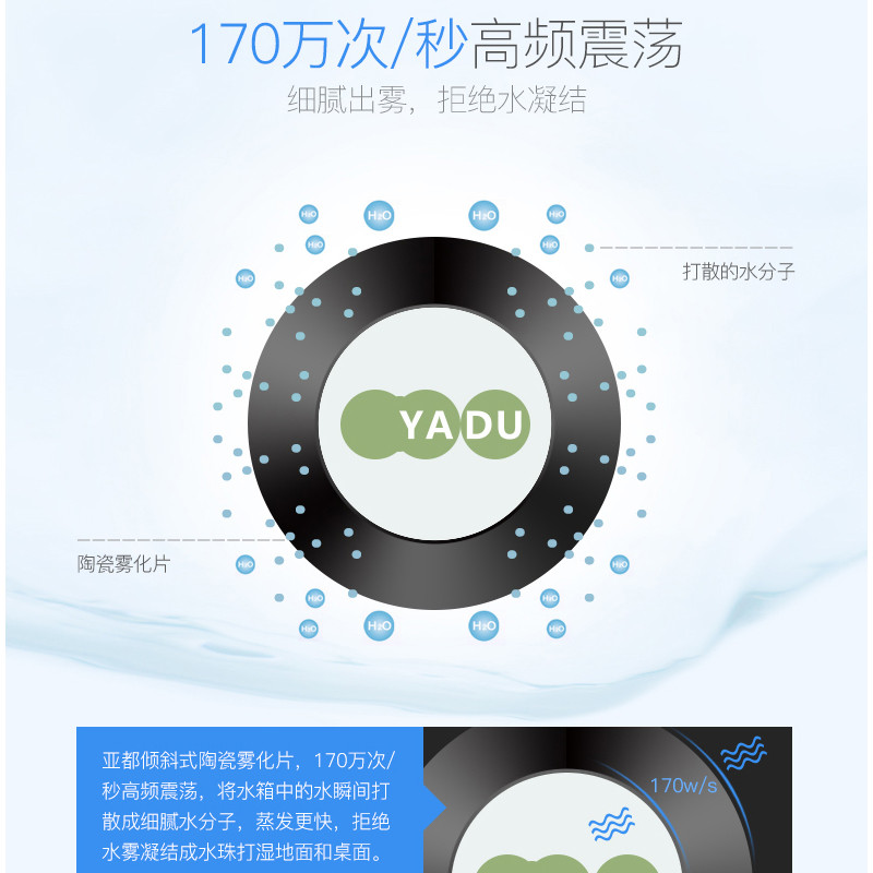 亚都(YADU)超声波加湿器SC-M023 家用 办公 迷你 静音