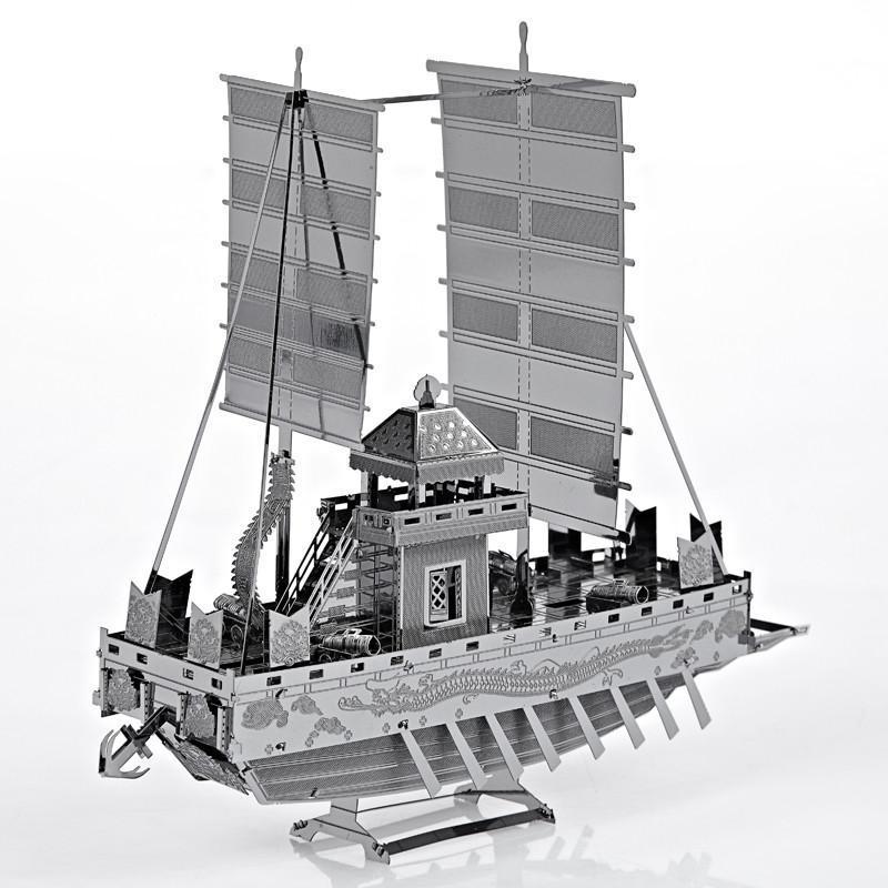 拼酷全金属diy立体拼图模型 微型3d手工拼装模型玩具 板屋船(银色)