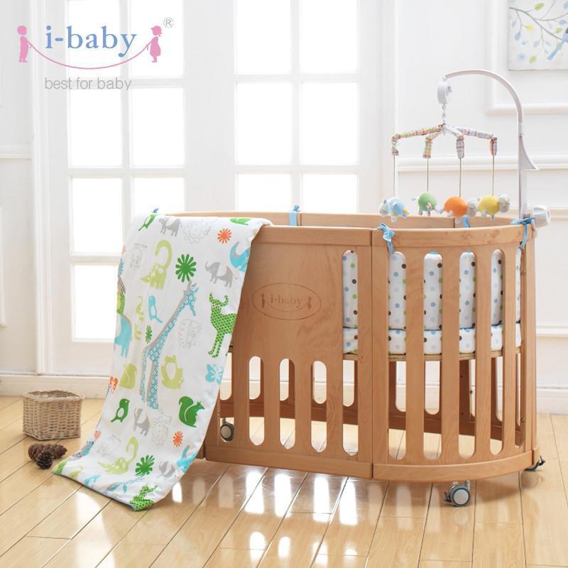 i-baby巴黎宝贝婴儿床 实木宝宝床多功能无漆味环保成长型童床