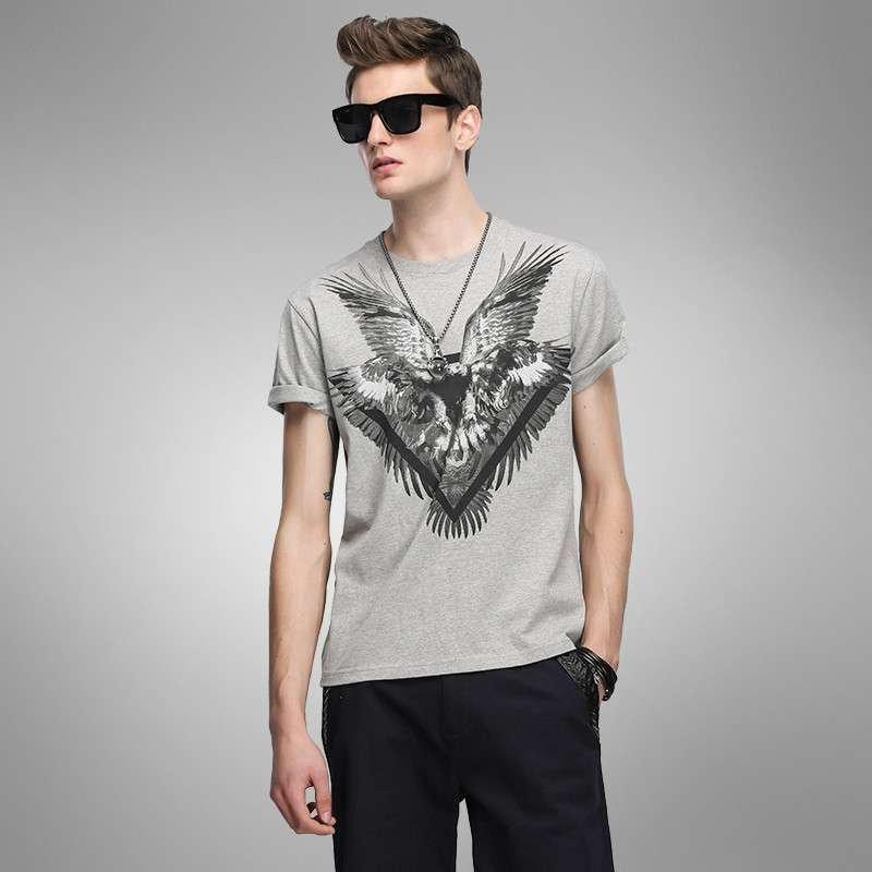 lilbetter男t恤短袖 动物印花休闲圆领纯棉灰色体恤男士短袖t恤潮