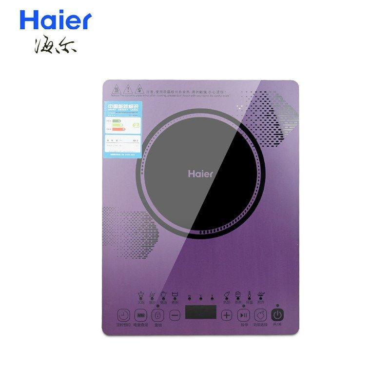 海尔(Haier)电磁炉 C21-B2303 超薄彩色触摸微晶面板带汤锅炒锅电磁炉