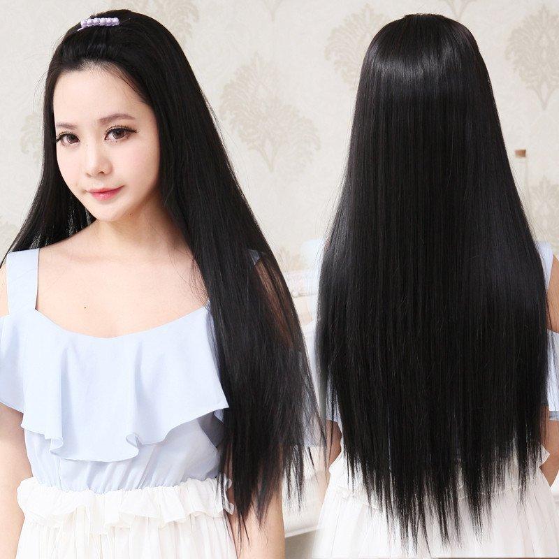 小苏妞假发 假发半头套无刘海长发直发女长直发半顶假发套逼真韩版无
