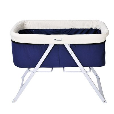 pouch婴儿床欧式多功能宝宝可折叠环保摇篮床 H19 深蓝色 100*57