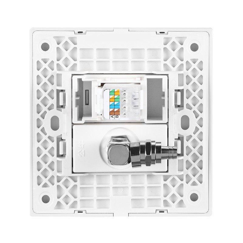 公牛电视电脑插座开关网线有线电视网络面板86型插座g22t223月光银