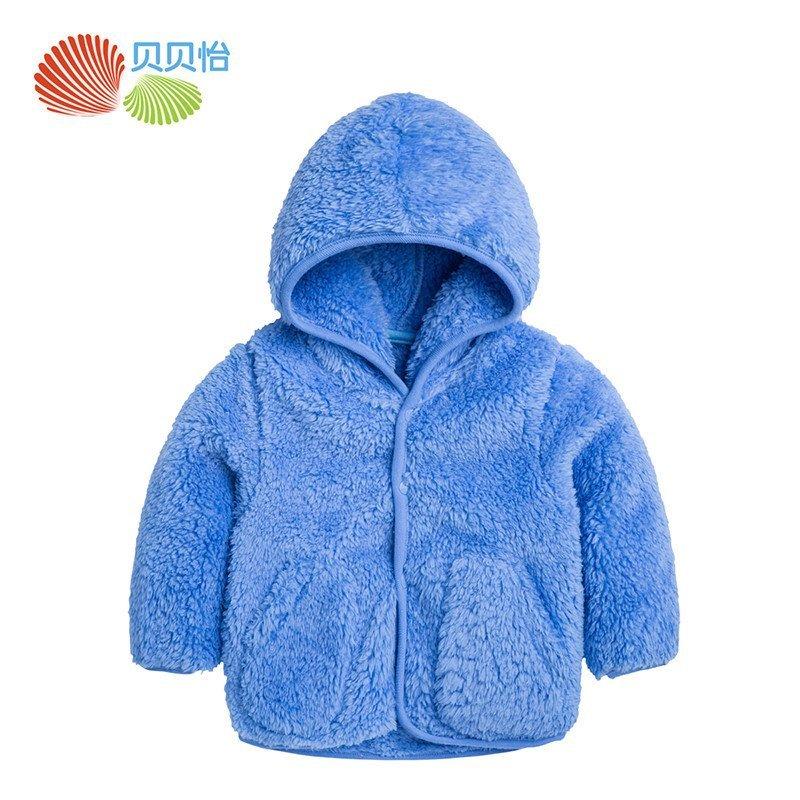 贝贝怡新款宝宝毛绒连帽外套保暖婴儿童装可爱外出服153s138 73cm