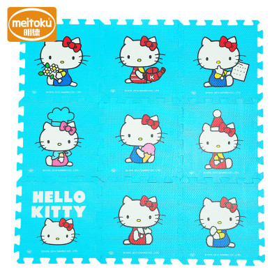 Meitoku明德卡通环保PE泡沫地垫拼图儿童爬爬垫 宝宝婴儿爬行垫拼接1-3岁 蓝色KT猫30*1cm(9片/包)
