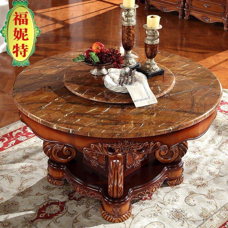 福妮特欧式实木大理石圆餐桌 仿古雕花大理石餐桌 欧式复古双层转盘圆