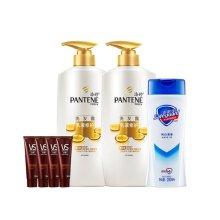 潘婷PANTENE乳液修护洗发水750ML*2+潘婷乳液修护润发精华素80ML*4+舒肤佳纯白清香型沐浴露200毫升