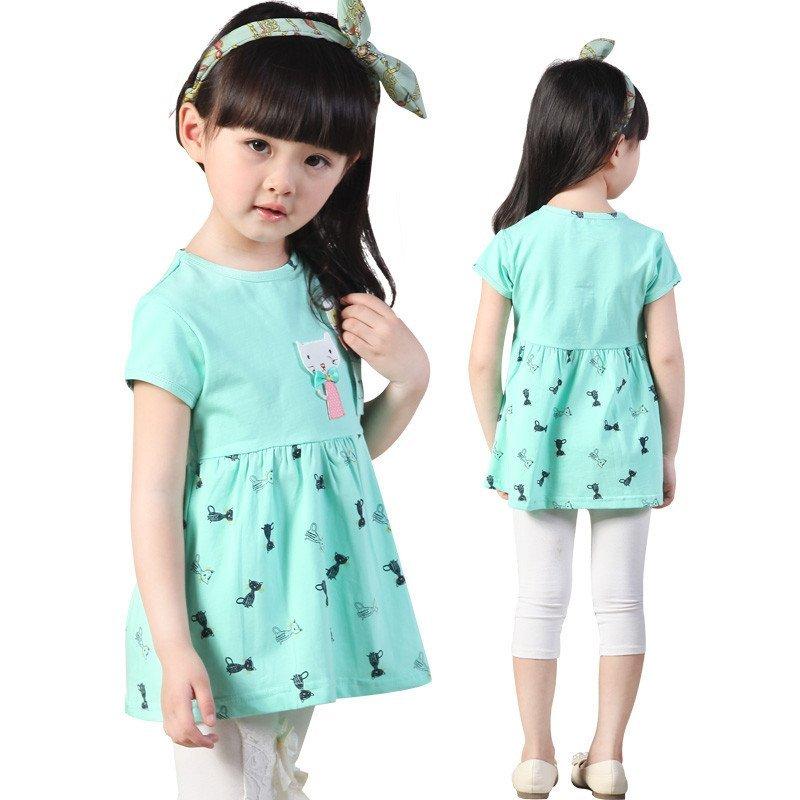 夏季新款猫咪短袖连衣裙 韩版可爱女童卡通印花裙子 110cm 蓝色