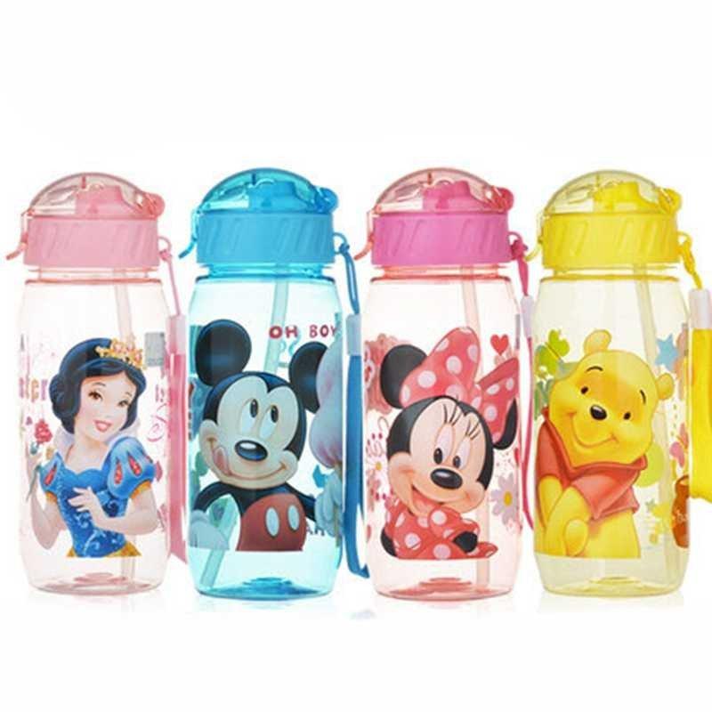 儿童吸管水杯便携塑料杯可爱夏季水壶男女学生卡通防漏杯子 米奇蓝c