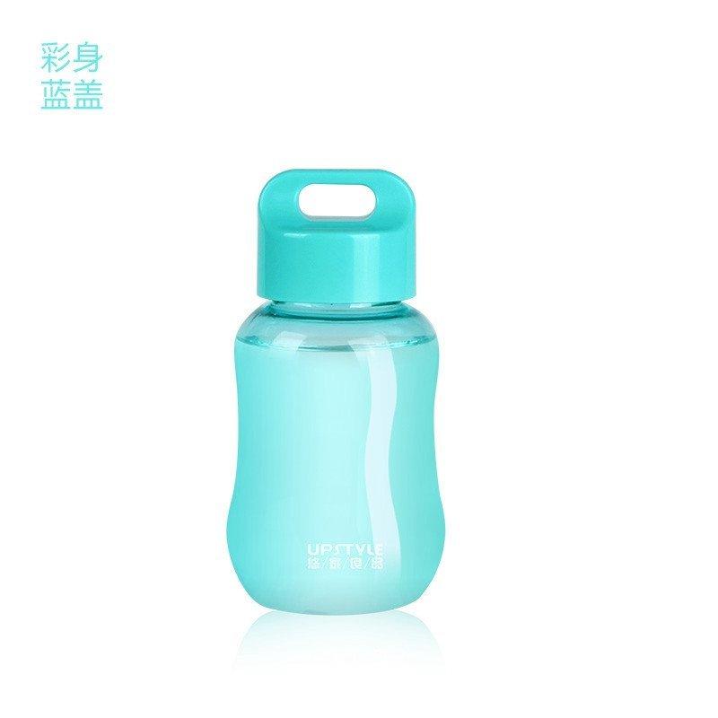 迷你小学生女可爱水瓶塑料水杯便携儿童水壶创意随手杯子 透明紫盖180