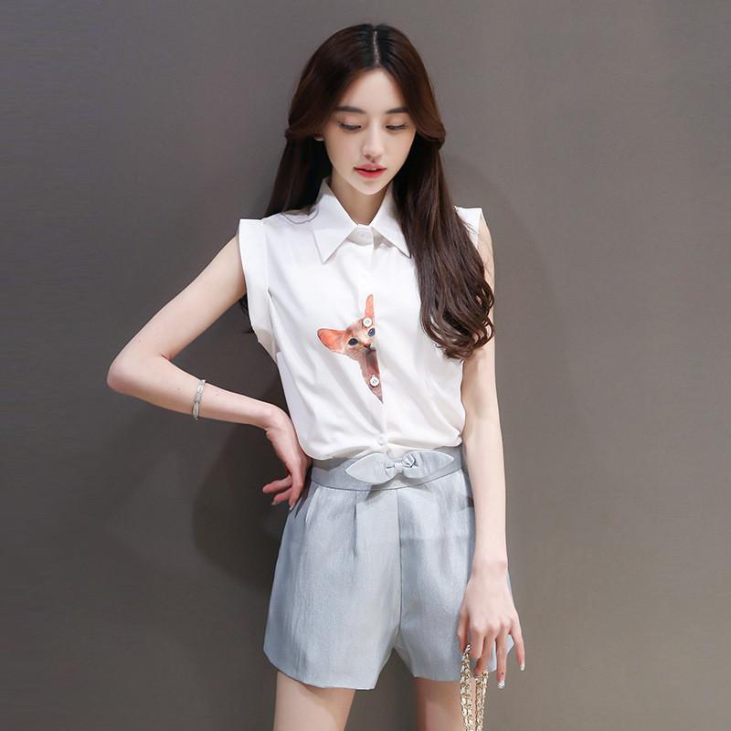 2016夏装韩版猫咪衬衫休闲短裤两件套套装女~ xl 白色图片