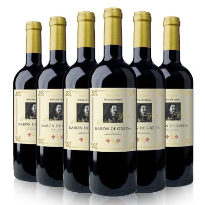 西班牙进口红酒 布雷格男爵红葡萄酒整箱装750ml*6瓶