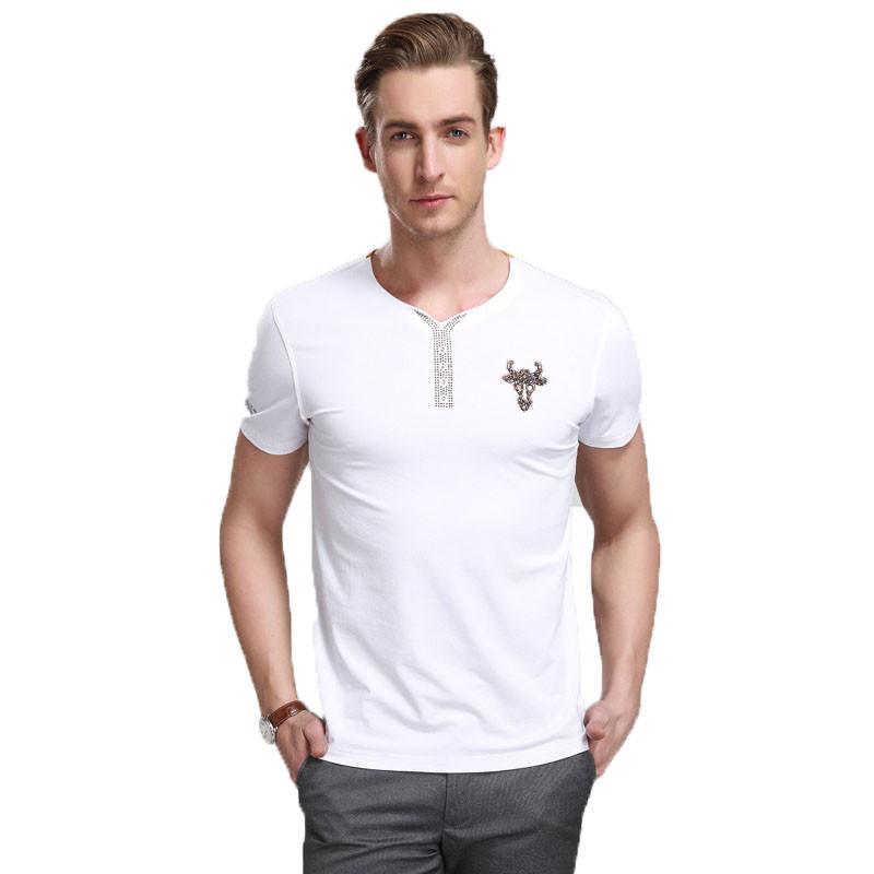 男装2015夏季男士烫钻v领短袖t恤衫 中年男士短袖棉.