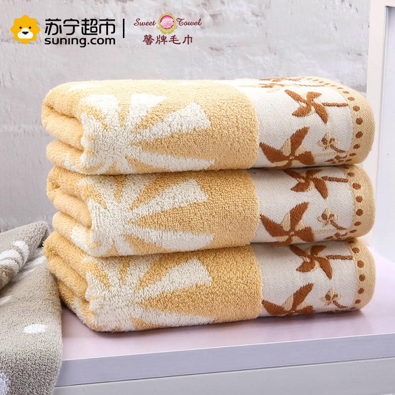 馨牌 纯棉毛巾 荷兰风车加厚提花毛巾 吸水舒适柔软厚实成人洗脸毛巾(单条装) 76*34cm 黄色