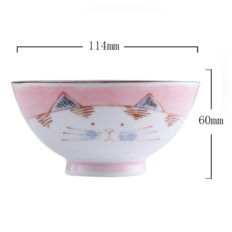 日本进口可爱女生儿童饭碗小碗情侣对碗套装家用套餐餐具 粉色