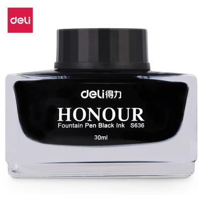 得力deliS636鋼筆墨水純黑色墨藍色辦公學生用黑色墨水30ml/瓶非碳素不堵筆
