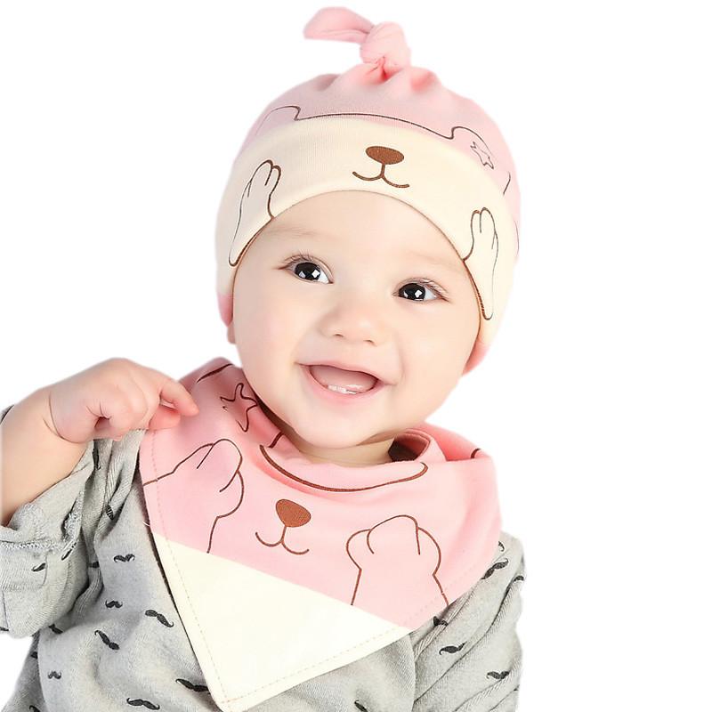 贝迪牛 新生儿春季宝宝套头帽婴儿帽子童帽三角巾套装