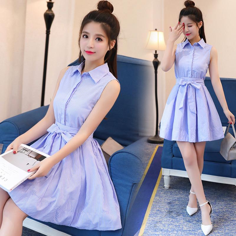 实拍9350#春装新款韩版小清新蓝白条纹连衣裙长袖衬衫图片