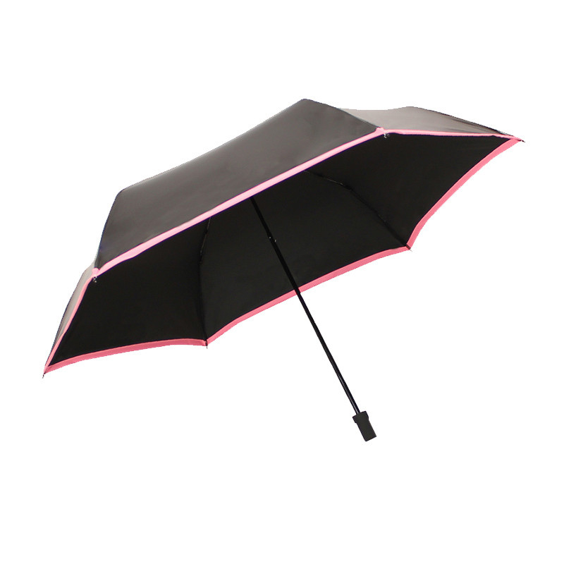 天堂伞(防晒UPF50+)碳纤黑丝靓胶色织三折铅笔晴雨伞遮阳伞 31016ELCJ 亮红边